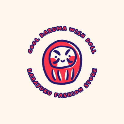 Clothing Logo Generator Featuring a Daruma Doll Clipart 4140c