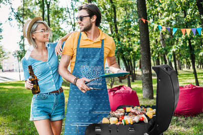 Apron Mockup of a Man Preparing Barbecue for His Girlfriend m2933-r-el2