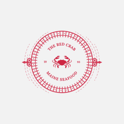 Seafood Restaurant Logo Template Featuring a Red Crab Clipart 4135d