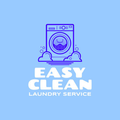 Logo Maker for an Affordable Laundry Service Featuring a Smiling Washing Machine 4134d
