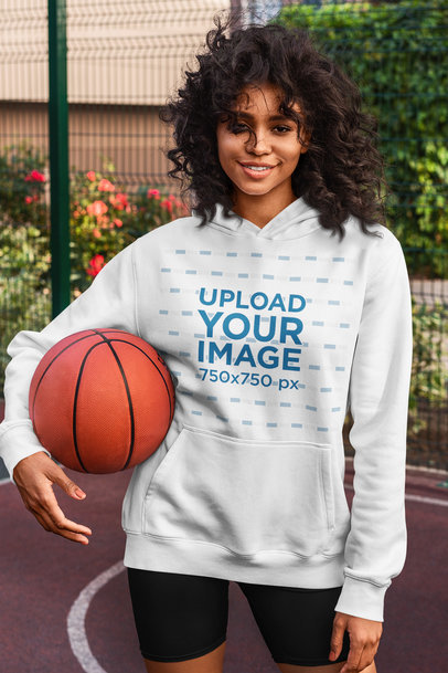 Basketball-Themed Mockup of a Woman Wearing a Hoodie 5131-el1