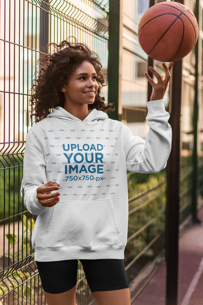 Hoodie Mockup of a Happy Female Basketball Player 5133-el1