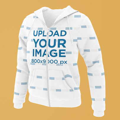 Mockup of a Ghosted Sublimated Hoodie with Full Zip 5104-el1
