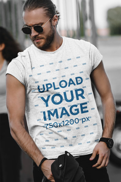 Heathered Tee Mockup of a Serious Man with Sunglasses m2719-r-el2