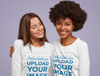 Long Sleeve Tee Mockup Featuring Two Women in a Studio M2763-r-el2