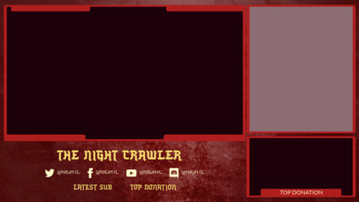 Twitch Overlay Design Template Featuring a Horror Aesthetic 3493