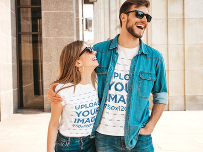 T-Shirt Mockup Featuring a Happy Couple With Sunglasses m1584-r-el2