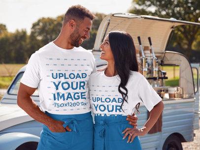T-Shirt Mockup of an Entrepreneur Couple at an Outdoor Bazaar m2873-r-el2