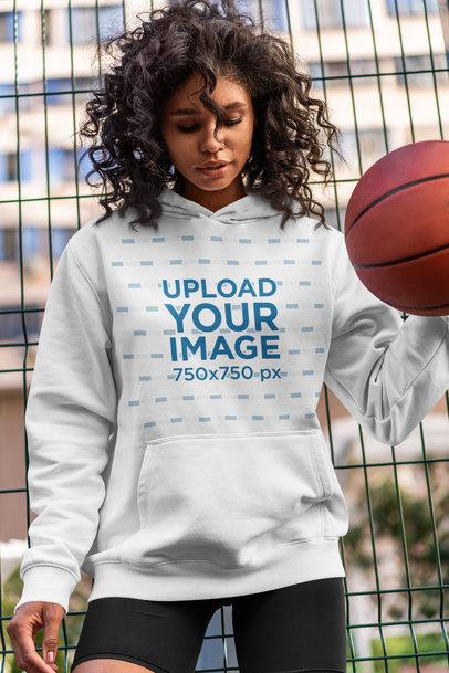 Hoodie Mockup of a Woman Dribbling a Basketball 5136-el1