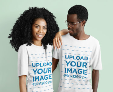 Unisex T-Shirt Mockup of a Curly-Haired Woman Posing With Her Boyfriend m2814r-el2