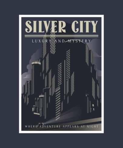 T-Shirt Design Template with Art-Deco Urban Landscapes 3683-el1