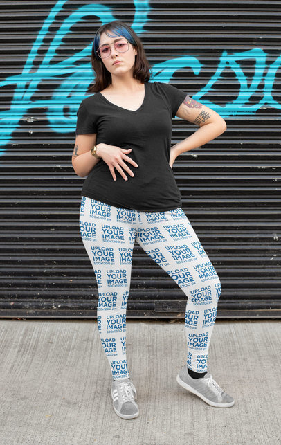 Leggings Mockup of a Tattooed Woman Posing in an Urban Setting 25014a