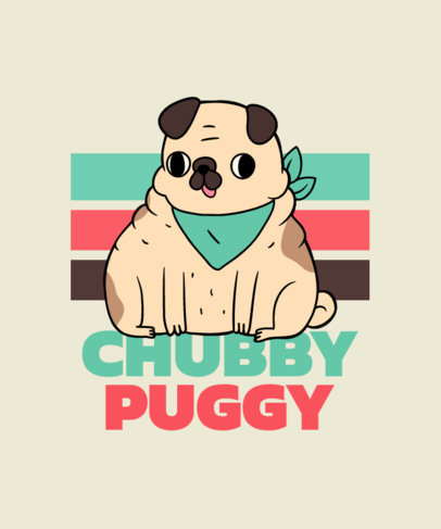 T-Shirt Design Maker Featuring a Chubby Pug with a Derp Expression 3497h