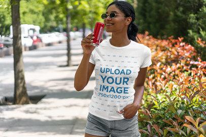 Basic T-Shirt Mockup of a Woman Drinking a SodaBasic T-Shirt Mockup of a Woman Drinking a Soda 5182-el1