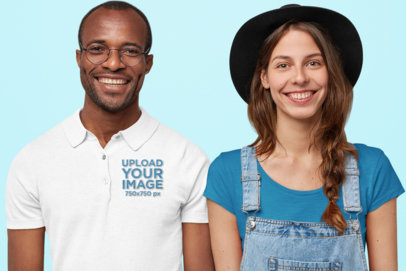 Polo Shirt Mockup of a Man Standing Next to a Woman M3223-r-el2