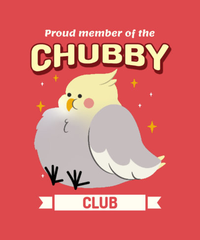 T-Shirt Design Maker with a Graphic of a Fluffy Chubby Bird 3495f