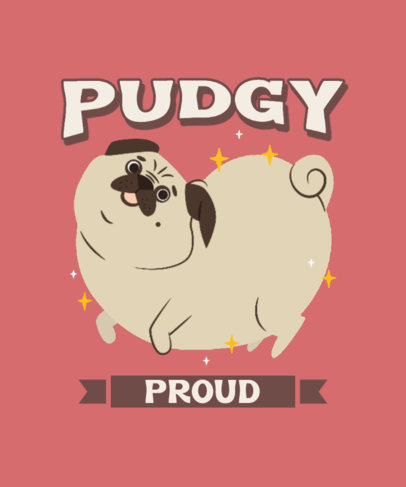 T-Shirt Design Creator Featuring a Silly Chunky Pug Dog 3495h