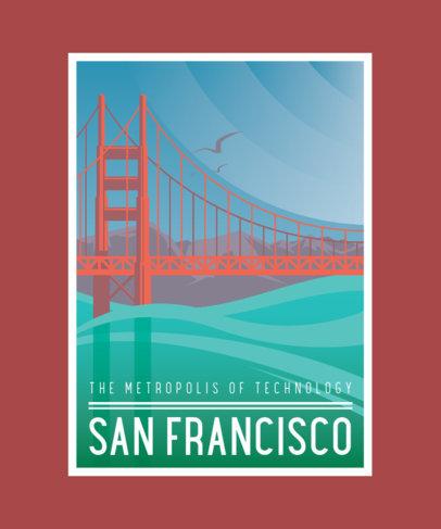 Art-Deco T-Shirt Design Maker with an Illustration of San Francisco 3683d-el1