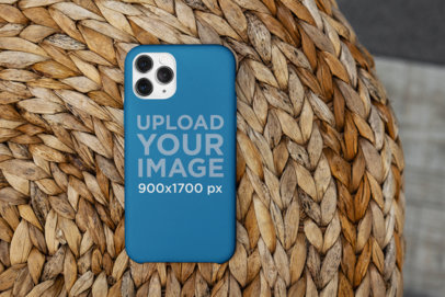 Phone Case Mockup Featuring a Handmade Basket 5170-el1