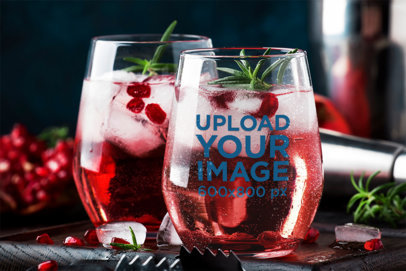 Stemless Wine Glass Mockup Featuring Refreshing Drinks m3066-r-el2