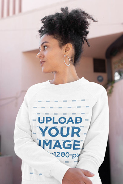 Sweatshirt Mockup Featuring a Curly-Haired Woman Casually Posing 23976a