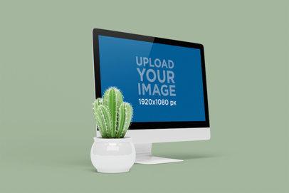 iMac Mockup Featuring a Small Cactus 5195-el1