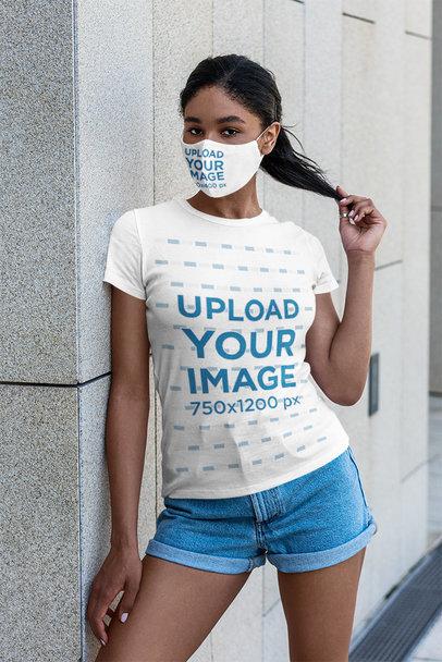 Face Mask and T-Shirt Mockup of a Woman Grabbing Her Hair 5178-el1