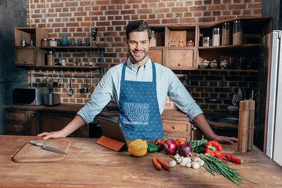 Apron Mockup of a Happy Man in the Kitchen m2855-r-el2