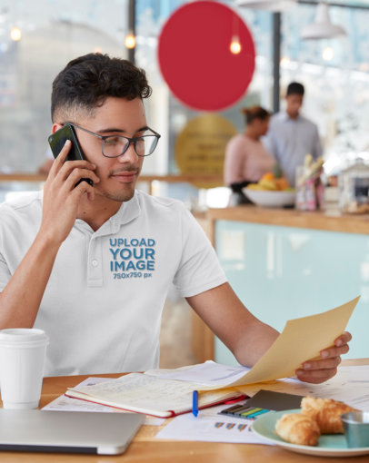 Polo Shirt Mockup of a Man Doing a Business Phone Call M3221-r-el2