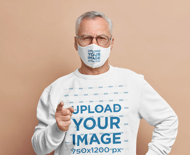 Face Mask and Sweatshirt Mockup Featuring a Man Giving a Stern Look m3366-r-el2