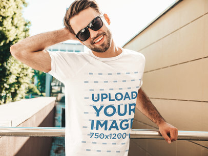 Mockup Featuring a Happy Man With Sunglasses Wearing a T-Shirt m2641-r-el2