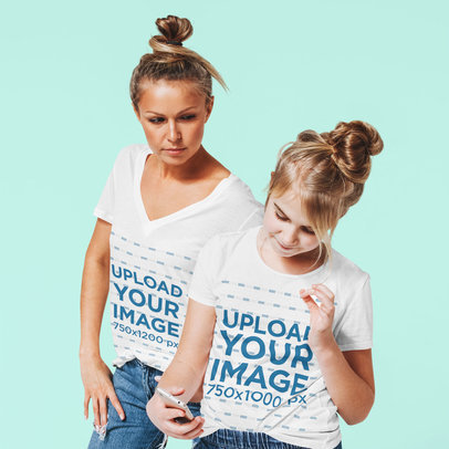 T-Shirt Mockup Featuring a Woman and a Girl in a Studio 45617-r-el2