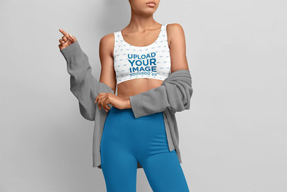 Sports Bra Mockup of a Serious Woman Standing in a Studio m3483-r-el2