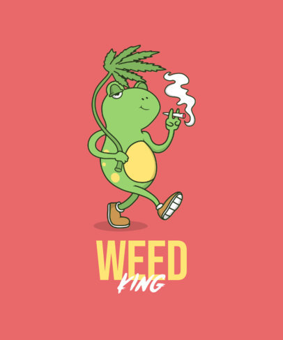 Cannabis T-Shirt Design Template Featuring a Frog Cartoon 3677c-el1