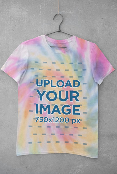 Mockup of a Hanging T-Shirt with Customizable Tie-Dye Texture m4030