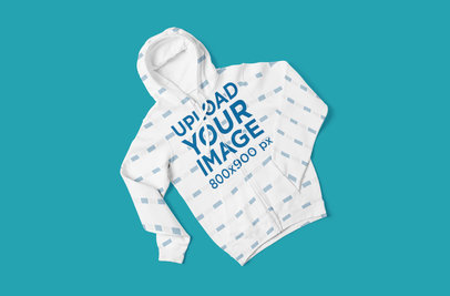 Mockup of a Sublimated Full-Zip Hoodie Placed over a Solid Surface 5043-el1