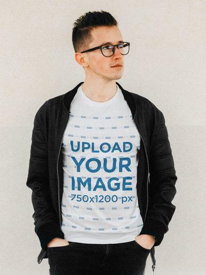 T-Shirt Mockup of a Man with Glasses Posing m2209-r-el2