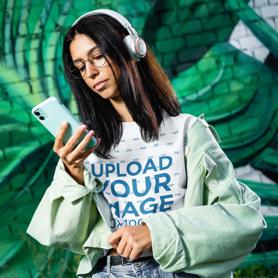 T-Shirt Mockup Featuring a Young Woman Listening to Music 45095-r-el2