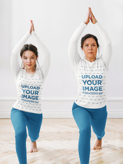 Long Sleeve Tee Mockup of a Woman Doing Yoga with Her Daughter m2428-r-el2