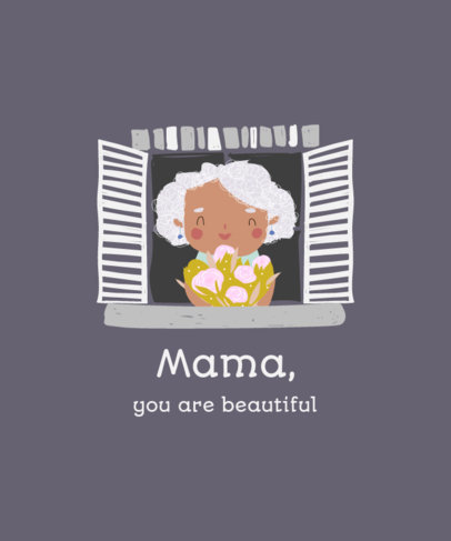 Mother's Day T-Shirt Design Generator Featuring a Happy Woman Illustration 3721b-el1