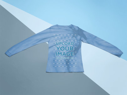 Long Sleeve Tee Mockup Featuring a Tie-Dye Texture m4119