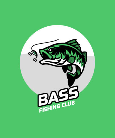 T-Shirt Design Template Featuring a Fish Eating Bait 3667d-el1