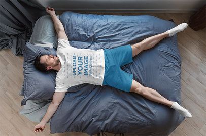 T-Shirt Mockup of a Man Sleeping on an Air Mattress 41007r-el2