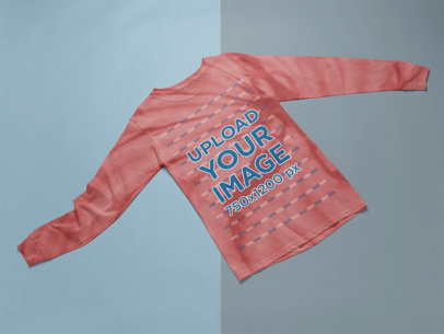 Mockup of a Tie-Dye Long Sleeve Tee on a Bicolor Background m4109