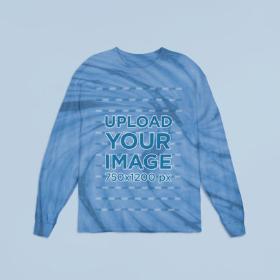 Tie-Dye Long Sleeve Tee Mockup Featuring a Plain Background m4110