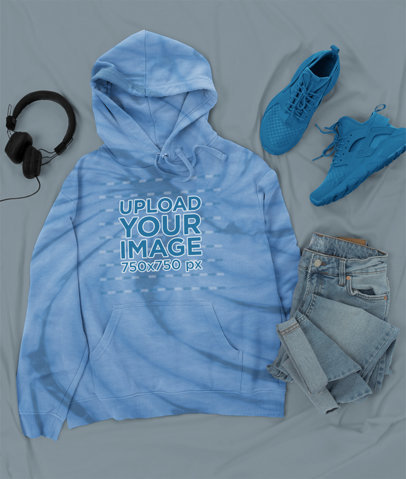 Tie-Dye Hoodie Mockup Featuring an Outfit Over Colored Sheets m4120