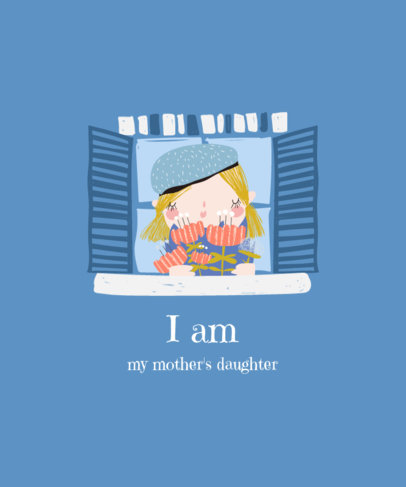 T-Shirt Design Template for Mother's Day Featuring an Illustration of a Woman at a Window 3721d-el1