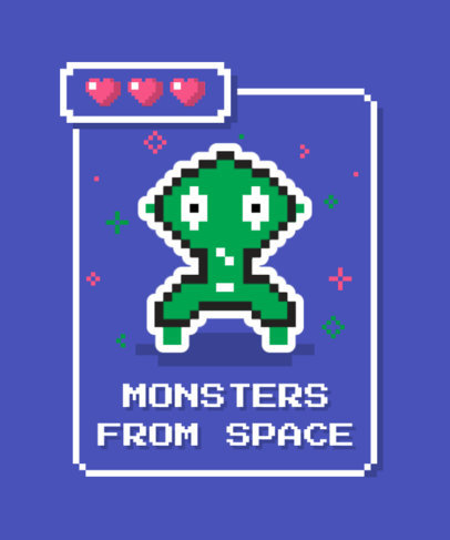 T-Shirt Design Template with Pixel-Art Gaming Monsters 3717-el1