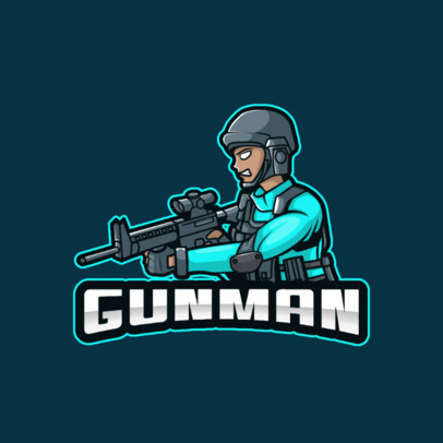 Illustrated Logo Maker for Gaming Streamers Featuring a Shooter With a Helmet 3709d-el1