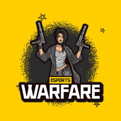 Logo Maker for an eSports Team Featuring a Female Shooter Character 3707a-el1